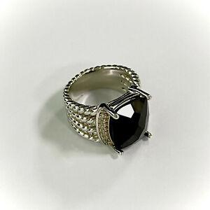 David Yurman Sterling Silver Onyx Wheaton Ring Size 7.5 Black