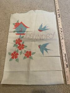 Vintage Laundry Bag - Birds, bird house and flowers - Tinted