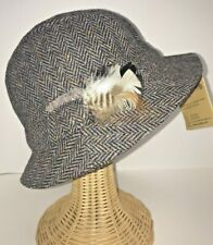 Hanna Hats Herringbone Walking Hat Gray Made In Ireland Size Large Feather