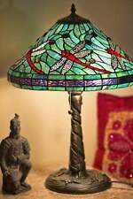 Tiffany Style Table Lamp Stained Glass Red Dragonfly w/ Dragonfly Metal Base