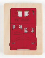 E6512 HAPE George Luck Five Buses Jigsaw Wooden Puzzle 6 Pieces Children Age 2+