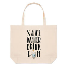 Guardar Agua Bebida Gin grandes playa Tote Bag-Divertido Broma Hombro Shopper