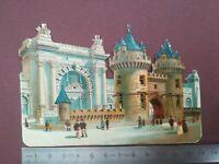 Y16 découpis gauffré dos vierge 13 cm large circa 1890 Château et personnages