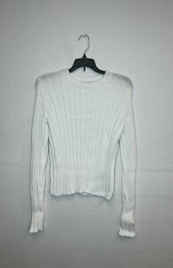 1*11 NEW Vince Long Sleeve Cotton Blend Ribbed White Sweater Women's Size Medium