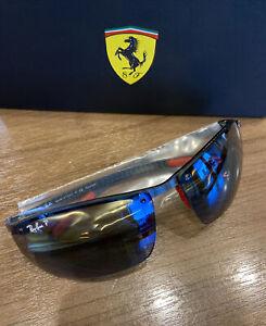 New Ray-Ban SCUDERIA FERRARI Polarized Blue Mirror Sunglasses RB8305-M F005/H0