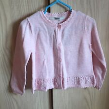 BNWT Toddler girls pink knit Crochet cardigan 18-24 months Cotton