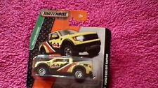 Matchbox (UK Card) - 2014 - #57 Ford F-150 SVT Raptor - Yellow, Black & Red