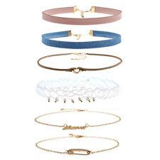 EG_ 6pcs/set Women Girls Alloy Chocker Collar Chunky Necklace Gothic Jewelry Gra