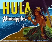 Hula Pineapple Fruit Crate Label Art Print Vintage Acme Western Packing CA Sexy