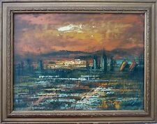 Vintage Signed TIMOTHY Abstract Expressionist Cityscape Oil Painting