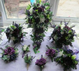 Wedding Flowers Bouquet Buttonholes Brides Shower Bridesmaids Posy - Purple