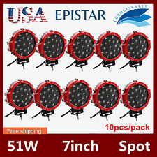 10X 7inch 51W Spot LED Light Offroad Round Work Roof Bumper Lamp Truck 4X4WD RED