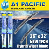 "PAIR JDM Style 18/""+26/"" INCH J-HOOK Bracketless #Ka30 Rain Windshield Wiper Blade"
