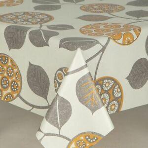 Off White Ochre Mustard Geometric Grey Leaves PVC Plastic Vinyl Table Cloth
