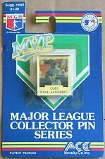 """1992 Chicago Cubs Ryne Sandberg M.V.P. 1 3/8"""" Pin New on Card MLB"""
