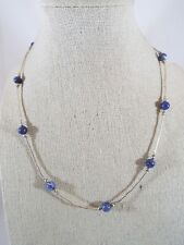 "Sterling Silver Liquid Silver Round Blue Stone Bead Necklace 17"" Long"