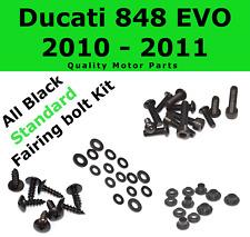 Black Fairing Bolt Kit body screws fasteners for Ducati 848 EVO 2010 - 2011 1098