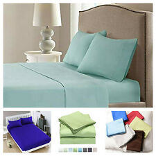 """4 Pcs Brushed Microfiber 100% Egyptian Hotel Quality Bed Top Sheet Sets 14"""" Deep"""