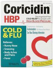 3 Pack - Coricidin HBP Cold - Flu Tablets, 10 Each