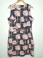 Jane Lamerton Weekend Black Floral Sleeveless Pencil Office Dress Plus Size 18