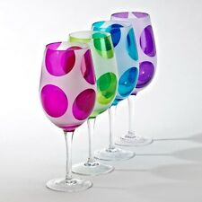 Globo Goblets with Fun Colorful Polka Dots - Lot of 8 Eight Wine Glasses Glass
