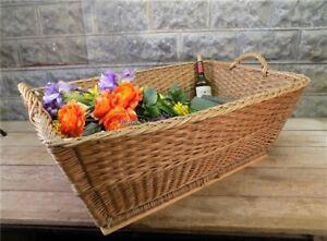 Rectangular Wicker Basket, Vintage German Woven Basket, Storage Organizer Z,