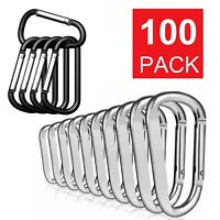 Lot 50/100 Pcs Silver/Black Aluminum Carabiner Spring Belt Clip Key Chain Set