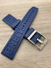 REPLACEMENT BREITLING 22-24 MM SILICONE RUBBER STRAP WITH SILVER BUCKLE