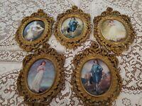 "Vtg 5 Italian Florentine Ornate Gold Gilt Frames Classic Print Art 10.5"" X 6"""