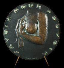 Médaille Gustave Courbet black peintre sculpteur femme nue black patina medal