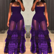 Women's spaghetti strap mesh sheer patchwork ruffled long club party prom dress