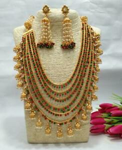 Indian Bollywood Wedding Long Haar White Gold Plated Necklace Bridal Jewelry Set