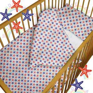 baby BEDDING set crib cot Starfish Sea DUVET bumper MOSES BASKET sheet GIRL BOY
