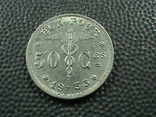 BELGIUM      50  Centimes    1933    FRENCH    ALMOST  UNCIRCULATED