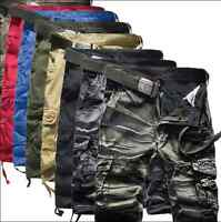 Stylish Mens Cotton Summer Army Combat Camo Work Cargo Shorts Pants Trousers