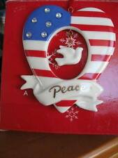 Avon Porcelain Heart STARS & STRIPES with DOVE of PEACE Ornament NEW/No Date