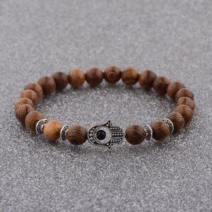 8MM Wooden Beaded Crown Buddha Lion Star War Hamsa Hand Beaded Stretch Bracelets