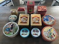 Vintage Tins Cans Lot 12 - Ritz, M&M, Bon Ami, Hershey, Post, Coke,Clark's ONT