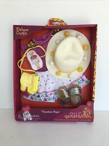 """NIB Our Generation Vacation Style Outfit for 18"""" Dolls, Fits American Dolls"""
