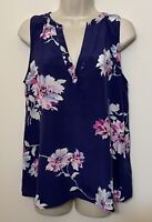 Joie Small SILK Sleeveless Blouse Blue & Pink Floral V-Neck Tank Top