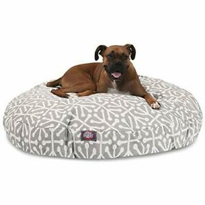 Gray Aruba Large Round Indoor Outdoor Pet Dog Bed With Removable Washable Cov...