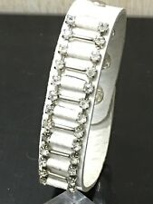 Fashion faux leather bracelet cuff wristband in white colour with rhinestones