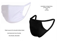 50X Face Mask Black / White Protective Breathable Cotton Washable Reusable Cover