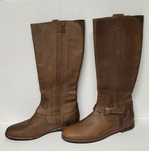 Cole Haan Women's NikeAir Petra Riding Boots Brown Leather Sz.7.5 B NWOB
