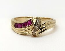 14k yellow gold 0.35ct diamond and ruby cluster cocktail ring size 6.5