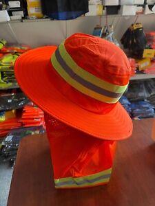 Hi Vis Reflective Work Safety Neck Flap Boonie Hat Orange  Bucket Cap