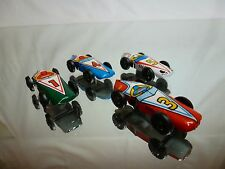 TIN TOY BLECH - LOT of 4 F1 RACE CARS - BLUE RED GREEN WHITE L4.0cm - GOOD