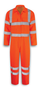 Hi Visibility Orange Coverall Boiler Suit Polly Cotton Reflective Hi Viz NEW