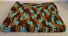 Handmade New Baby Afghan Receiving Blanket Blue Brown