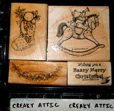 STAMPIN UP BEARY CHRISTMAS 4 RUBBER STAMPS ROCKING HORSE BEAR STOCKING